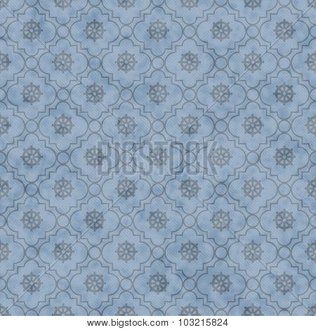 Pale Blue Wheel Of Dharma Symbol Tile Pattern Repeat Background