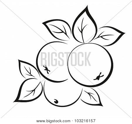 Apples with Leaves Black Pictogram