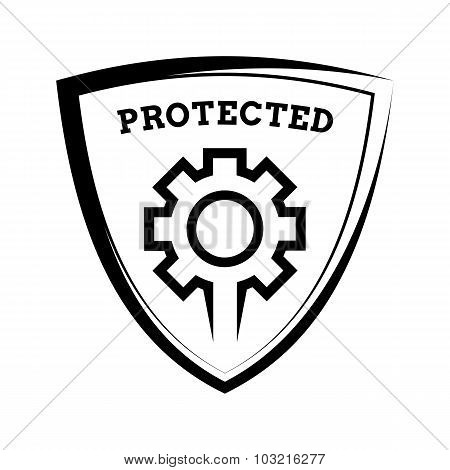 Shield Icon - Settings Protected, Black And White Template