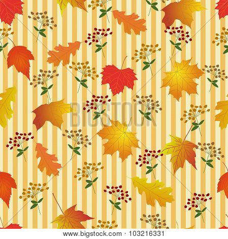 Seamless pattern with bright autumn leaves.