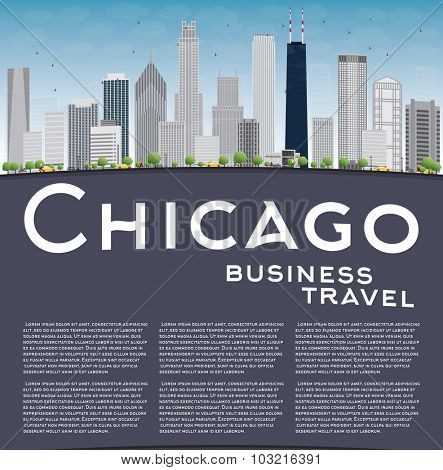 Chicago city skyline with grey skyscrapers, blue sky and copy space. Business travel concept.