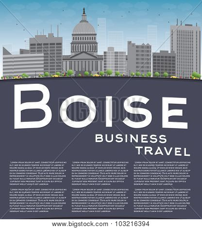 Boise Skyline with Grey Building, Blue Sky and copy space. Business travel concept.