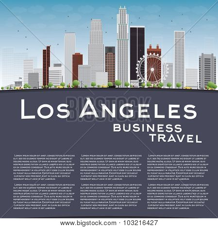 Los Angeles Skyline with Grey Buildings, Blue Sky and copy space. Business travel concept.