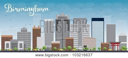 Birmingham (Alabama) Skyline with Grey Buildings and Blue Sky.