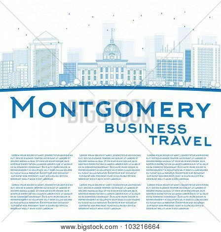 Outline Montgomery Skyline with Blue Buildings and copy space. Alabama.