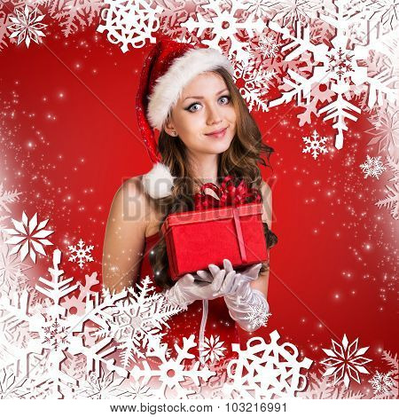 Santa girl on the red background with snowflakes