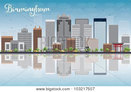 Birmingham (Alabama) Skyline with Grey Buildings, Blue Sky and reflection.