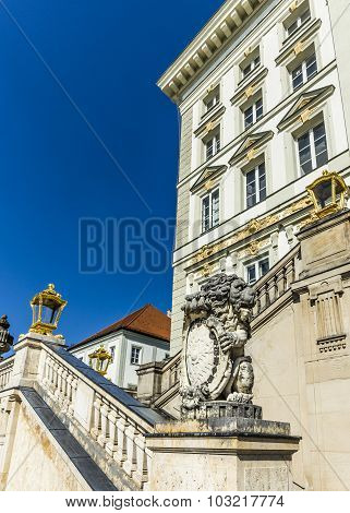 Facade Of Nymphenburg Castle With Bavarian Lion And Crest