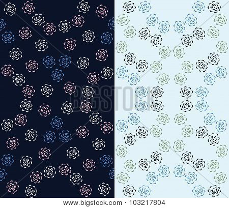 Set of 2 seamless floral pattern