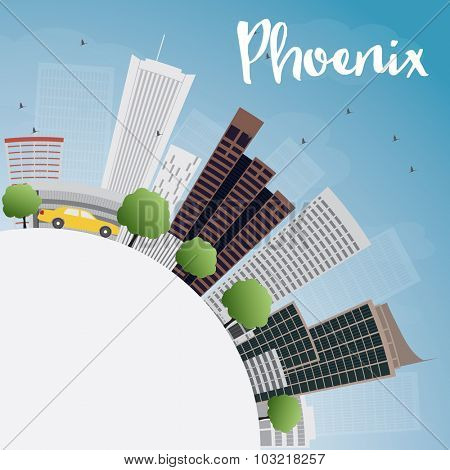 Phoenix Skyline with Grey Buildings, Blue Sky and copy space.