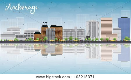 Anchorage (Alaska) Skyline with Grey Buildings, Blue Sky and reflections.