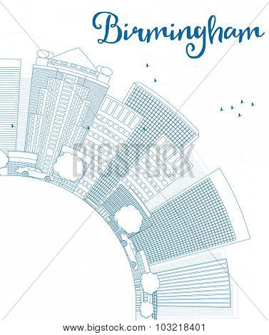 Outline Birmingham (Alabama) Skyline with Blue Buildings and copy space.