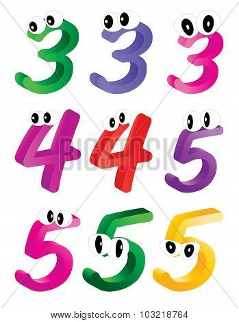 Image Of Cartoon Number, Digit Three, Four, Five With Eyes. Funny, Cheerful And Colorful Illustratio