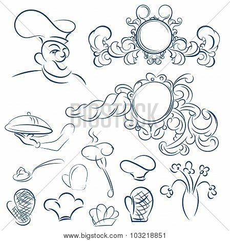 Design Elements For Design Menu Restaurant Or Cafe. Vector Decor