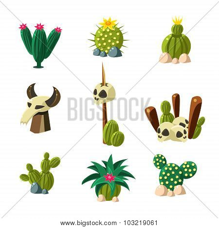 Blossom Cactus and Skull Vector Illustration Set