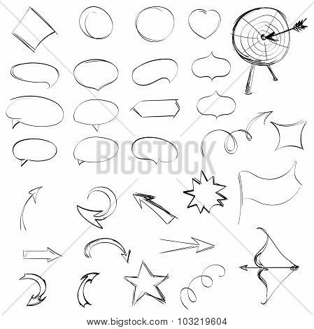 Pencil Sketches.hand Drawn Scribble Shapes. A Set Of Doodle Line