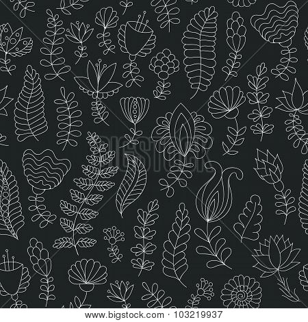 Seamless black and white doodle flowers pattern
