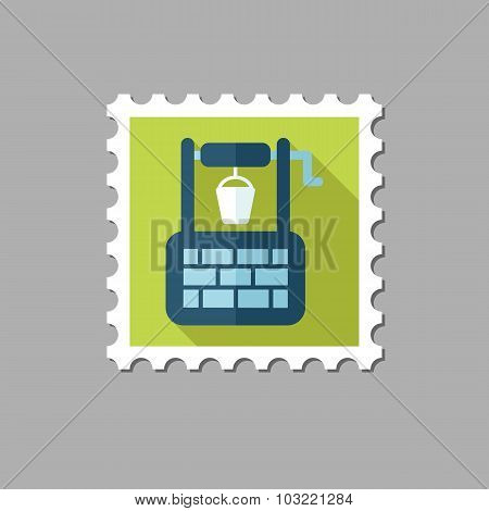 Water Well flat stamp with long shadow