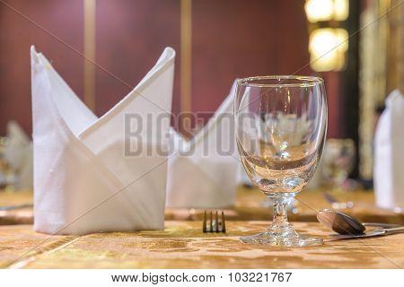 Elegance Of Glasses On Table Set Up For Dinning Room.
