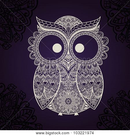 Vector illustration of owl. Bird illustrated in tribal. Shaped owl