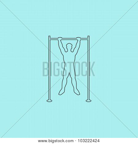 Horizontal bar and man