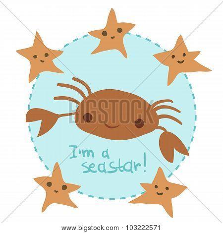 Vector cute cartoon crab and stars set.