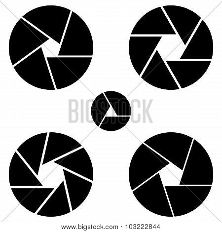 Set Diafragma In Vector. Isolate Lens Part On White Background.