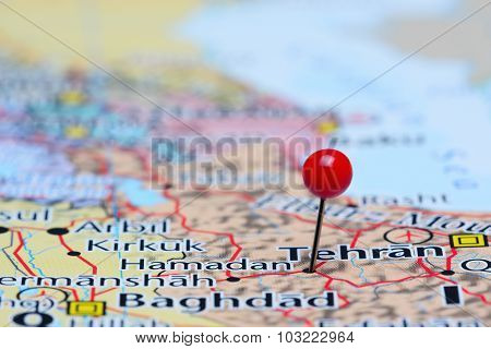 Hamadan pinned on a map of Asia
