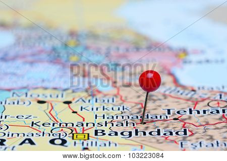 Kermanshah pinned on a map of Asia