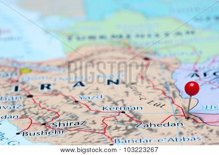 Zahedan pinned on a map of Asia