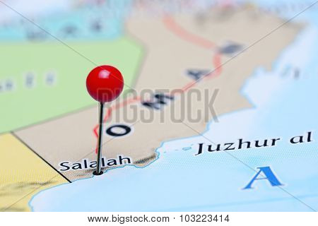 Salalah pinned on a map of Asia