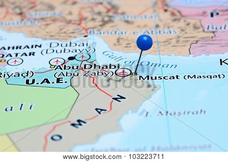 Muscat pinned on a map of Asia
