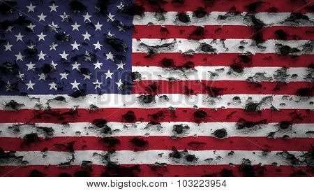 Flag of the United States of America, USA flag painted on wall with bullet holes