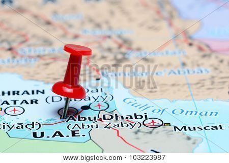 Abu Dhabi pinned on a map of Asia