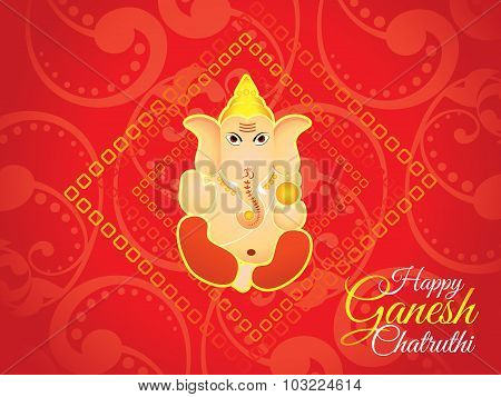 Abstract Artistic Red Ganesh Chaturthi Background