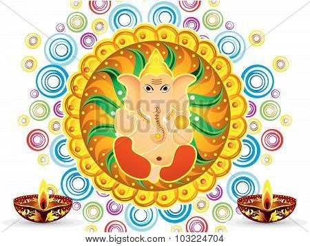 Abstract Artistic Colorful Artistic Ganesh Chaturthi