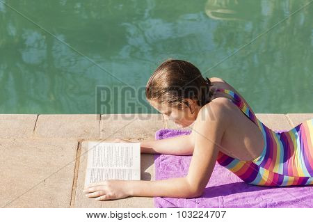 Girl Reading Pool