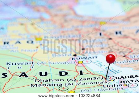 Dhahran pinned on a map of Asia