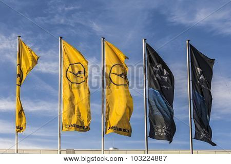 Lufthansa Flag With Lufthansa Symbol, The Crane And Star Alliance Flag