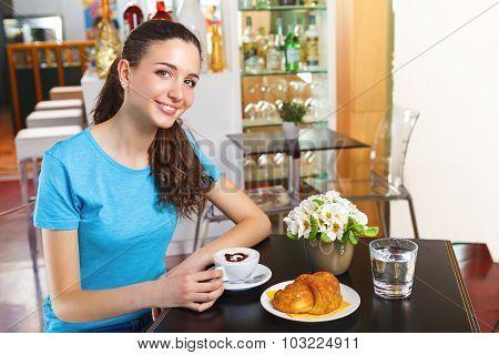 Girl  Having A Coffee Break With Cappuccino