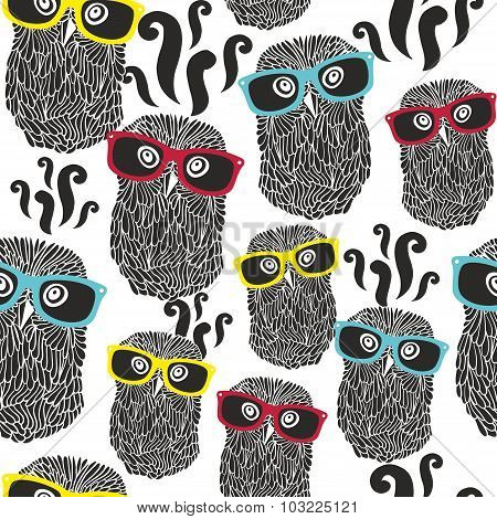 Seamless party pattern with happy owls in sunglasses.