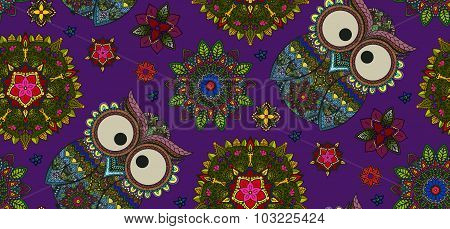 Hand drawn Mandala and ornamental owl seamless pattern, Floral D