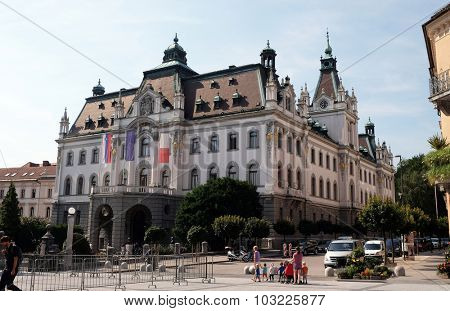 LJUBLJANA, SLOVENIA - JUNE 30: Headquarters building of University of Ljubljana, Slovenia on June 30, 2015