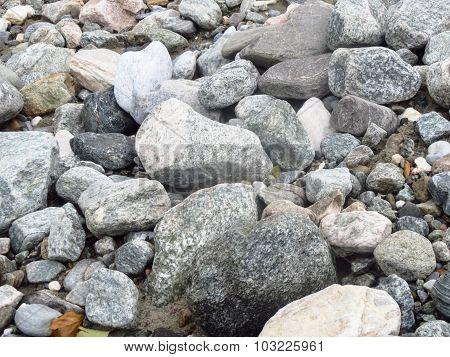 Set Of Big And Small Stones Ashore