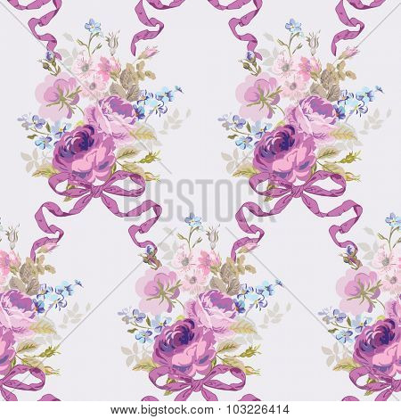 Spring Flowers Backgrounds - Seamless Floral Shabby Chic Pattern