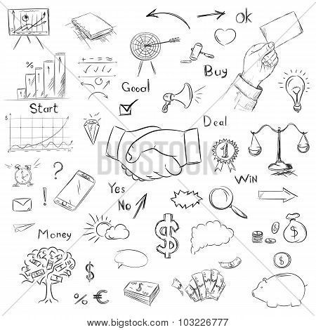 Sketch Collection Business Elements In Vector. Drawing Freehand
