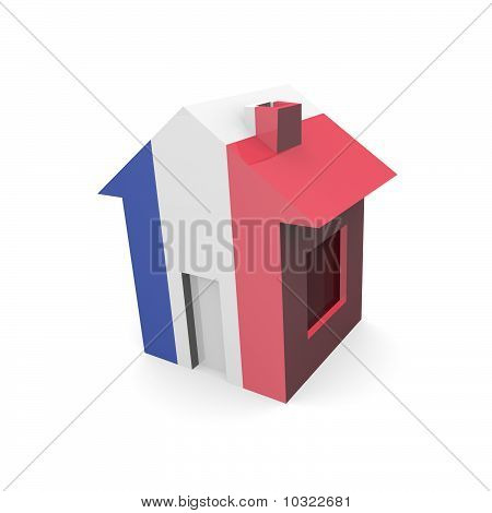 House 3D With Flag Of France