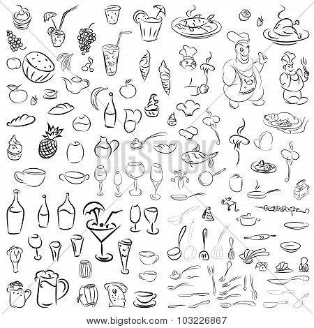 Vector Set Of Crockery, Cutlery, Wine Glasses, Fruit, Desserts,