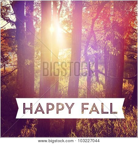 Inspirational Typographic Quote - Happy Fall