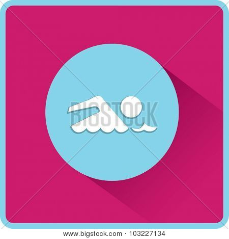 Swimmer sign. Flat Vector Icon
